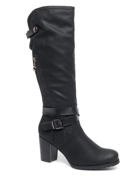 Grandes bottes Sinly à talons épais noir