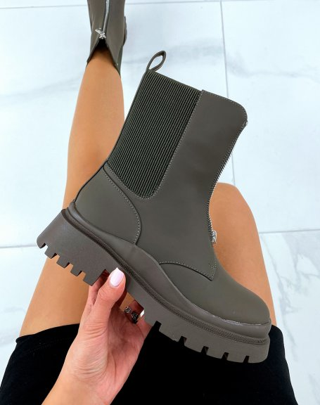 Khaki high ankle boots with zip and elastic