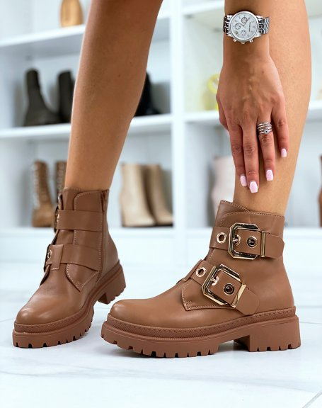 Light brown ankle boots with double straps