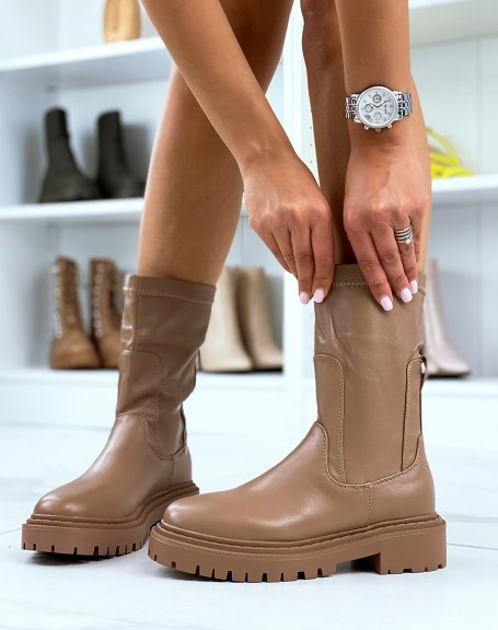 Light brown knee-high soft sock ankle boots