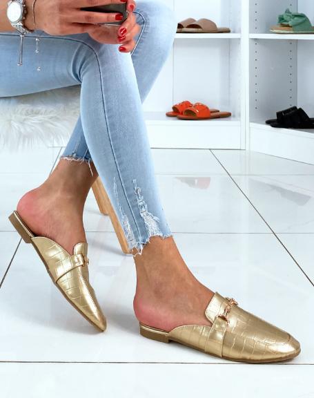Mules styles mocassins gold croco à brides
