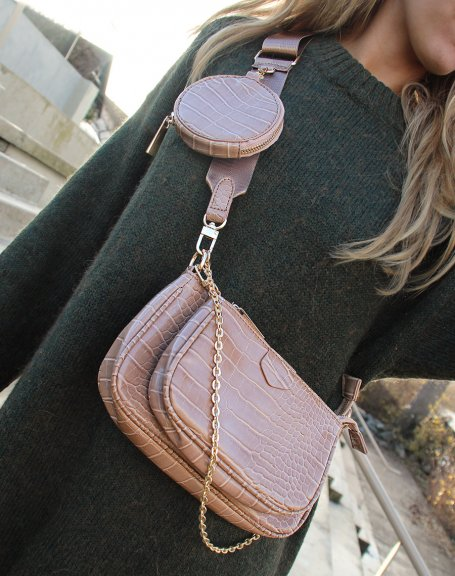 Multiples pochettes effet croco taupe