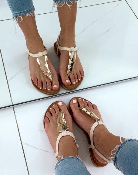 Nu-pied beige à bijoux dorée rond