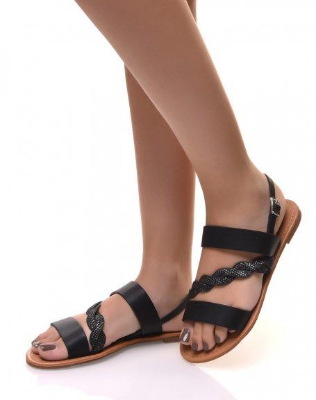 Nu-pieds à lanières épaisses noir