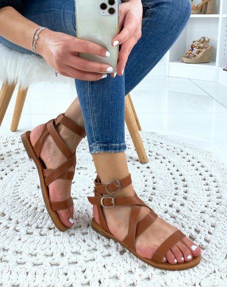 Nu-pieds à multiples sangles en simili cuir camel
