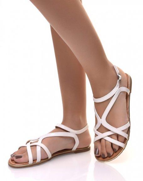 Nu-pieds blanc à lanières croisés écaillées