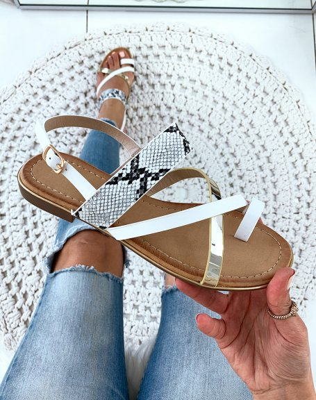 Nu-pieds blanches à brides multiples et orteils