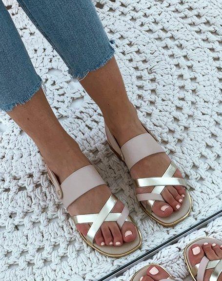 Nu-pieds en cuir beiges et dorés à multiples brides entrecroisées