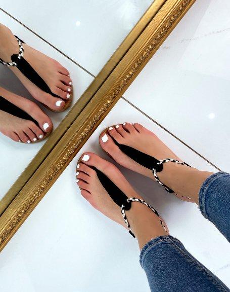 Nu-pieds en suédine noire à détail tressé