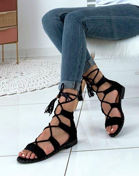 Nu-pieds en suédine noirs à multibrides entrecroisées