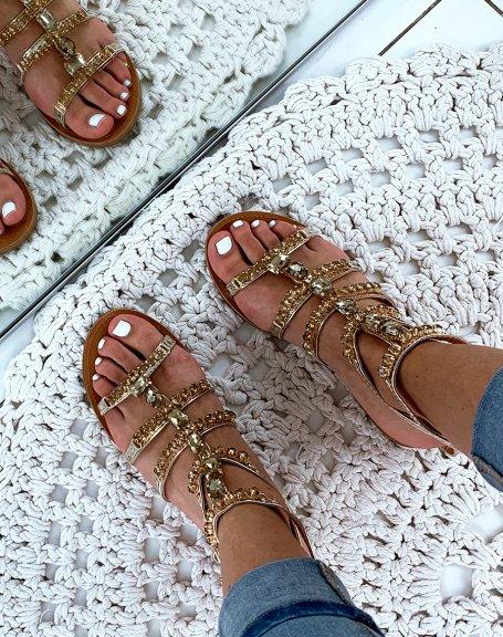 Nu-pieds montantes dorées à bijoux fantaisistes