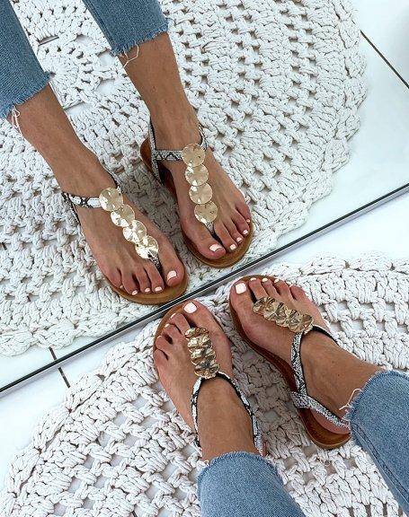 Nu-pieds noires effet peau de serpent à bijoux dorée
