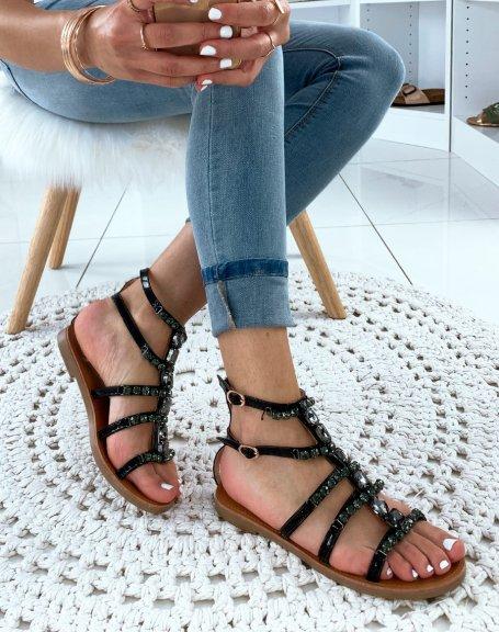 Nu-pieds noirs à bijoux fantaisistes