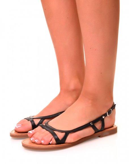 Nu-pieds noirs à fines lanières