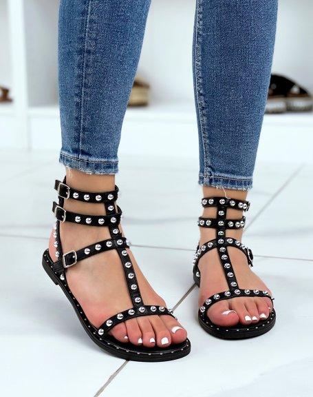 Nu-pieds noirs à multiples brides cloutées