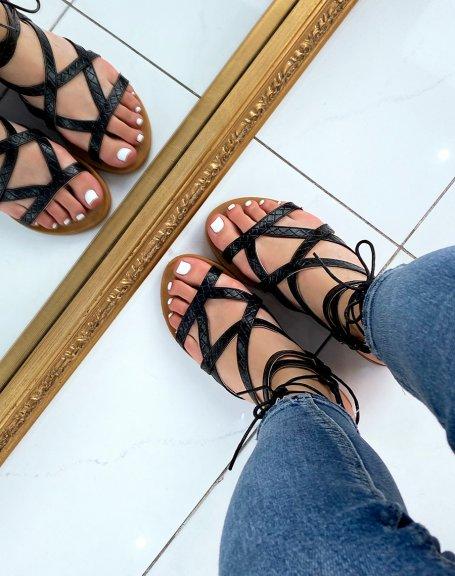 Nu-pieds noirs à multiples brides effet croco
