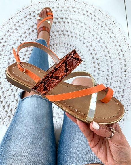 Nu-pieds orange à brides multiples et orteils