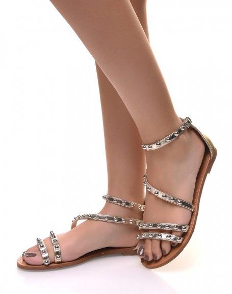 Nu-pieds ornées de clous ronds or