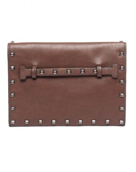 Petit sac à main Flora&Co chocolat clouté style cartable