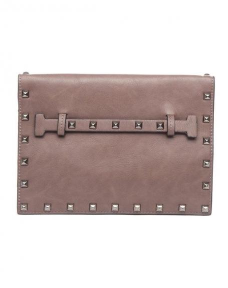 Petit sac à main Flora&Co taupe clouté style cartable