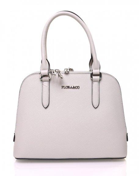Petit sac à main gris clair arrondi à doubles compartiments