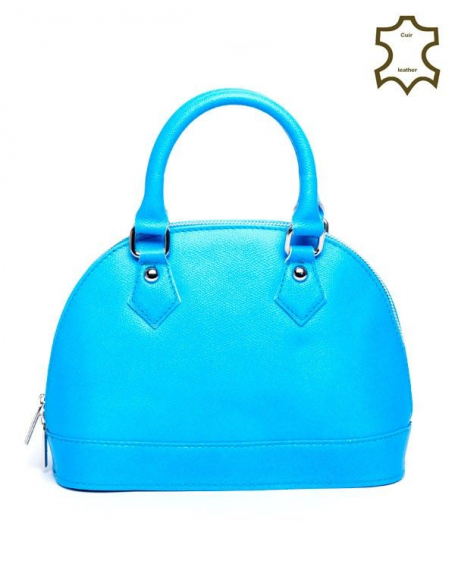 Petit sac à main Palme bleu fluo en croûte de cuir