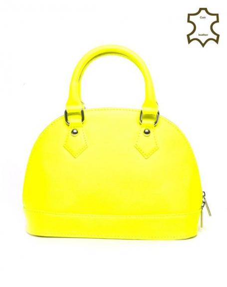 Petit sac à main Palme jaune fluo en croûte de cuir 18624821c7f