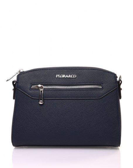 Petit sac bandoulière rectangulaire texturé bleu marine