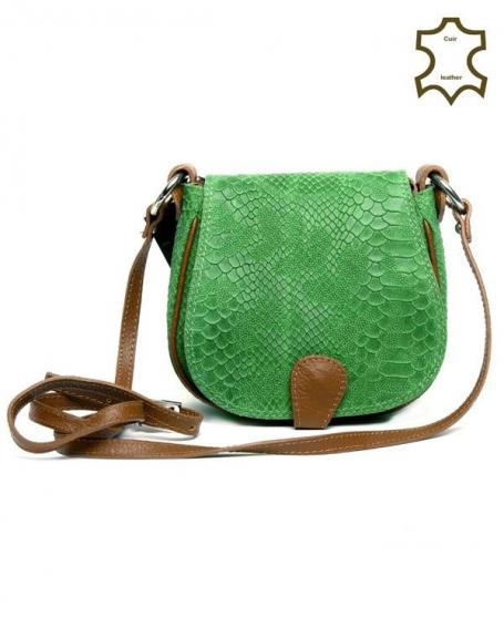 Petit sac en bandoulière Palme, fermeture éclair croûte de cuir vert