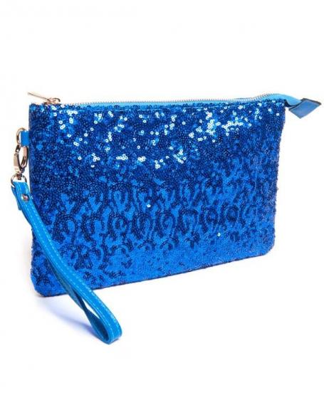 Petit sac femme Be Exclusive: Pochette bleue à sequin