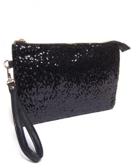 Petit sac femme Be Exclusive: Pochette noire à sequin