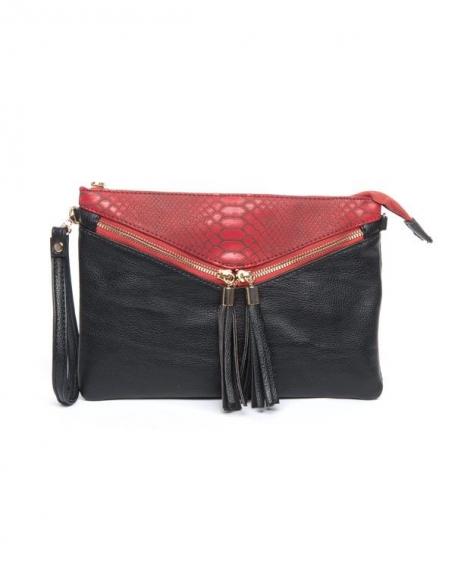 Pochette be exclusive à motif écaille  en relief noir et rouge