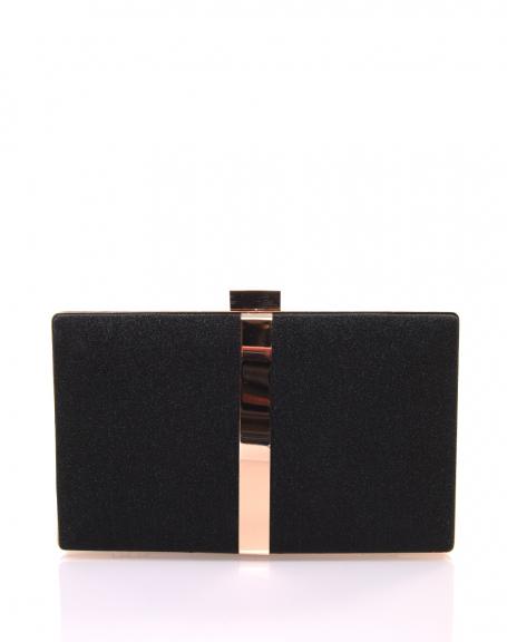 Pochette rigide en paillettes noires et détails dorés