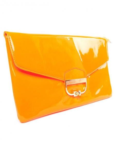 Pochette Style Shoes orange fluo à fermoir vintage