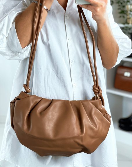 Sac à main forme besace taupe