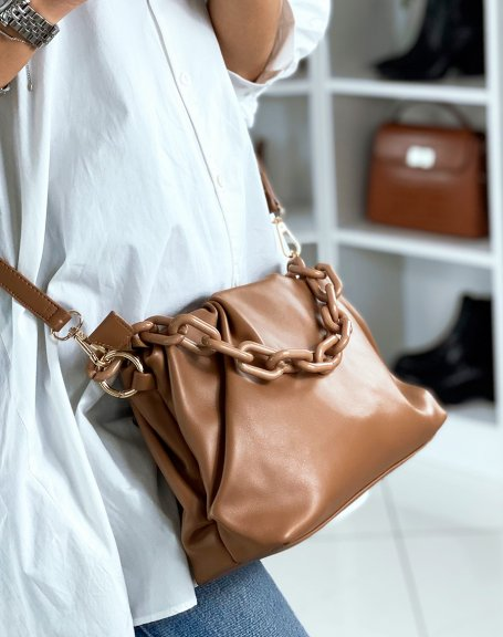 Sac à main forme besace taupe à fausses chaines