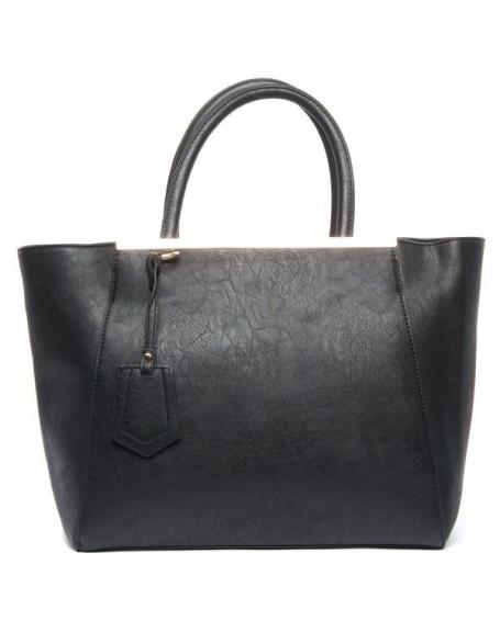 Sac à main grand format noir déclinable en sac à bandoulière