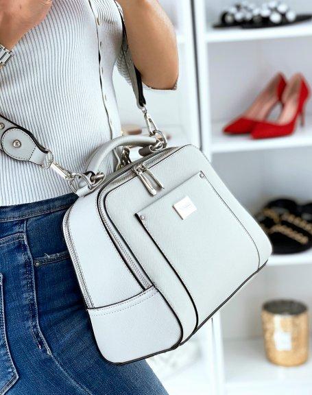 Sac à main gris clair style cartable à double poche