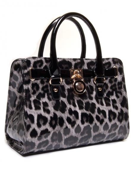 Sac à main léopard noir vernis avec cadenas métallique doré
