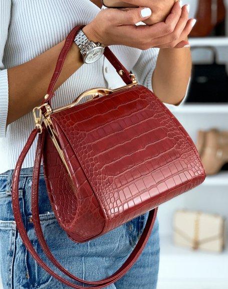 Sac à main rétro style porte-feuille rouge