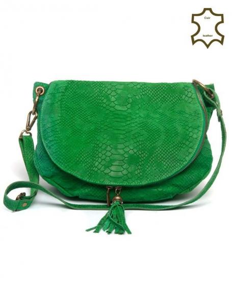 Sac à main vert Palme en croûte de cuir à motif écailles de reptile