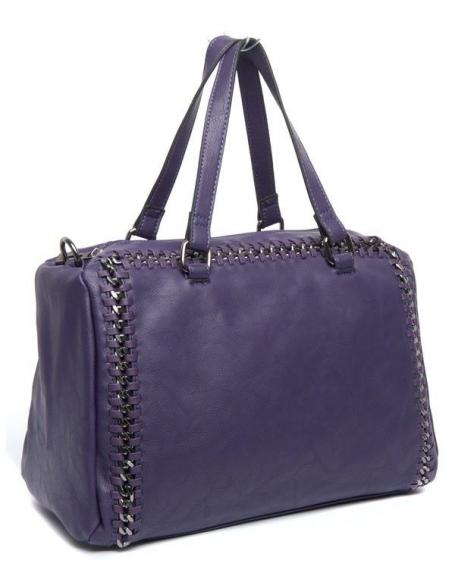 Sac à main violet Flora&Co, effet stries métalliques le long des bordures