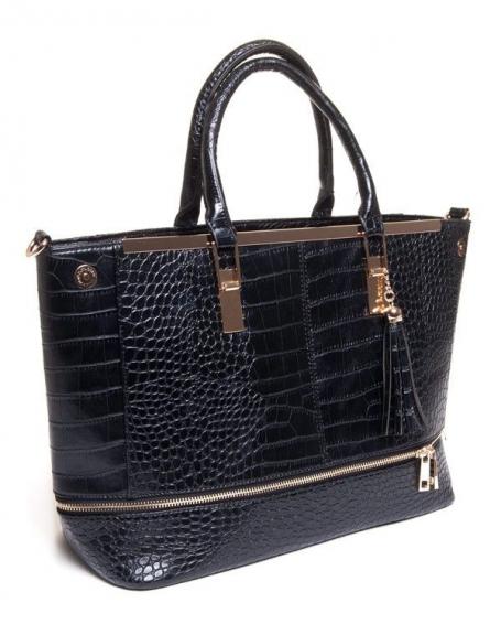Sac femme Be Exclusive: Grand sac à main noir effet croco