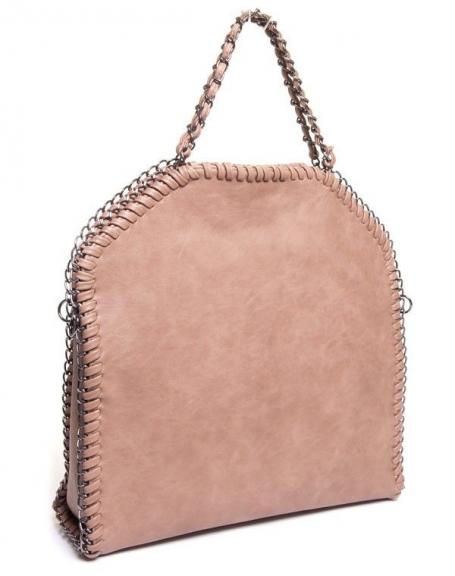 Sac femme Be Exclusive: Grand sac à main taupe contour chaîne