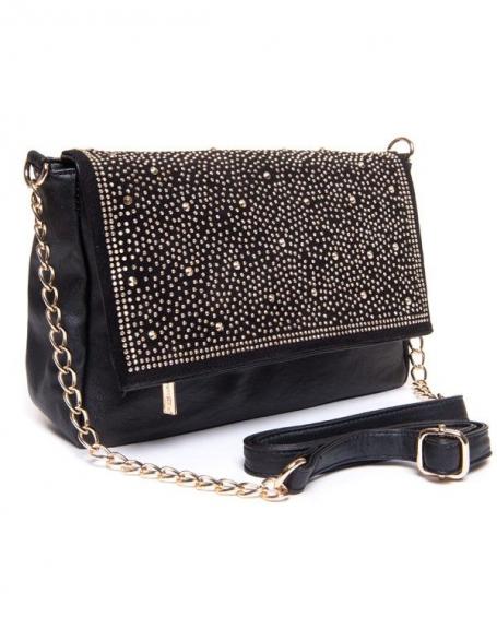 Sac femme Be Exclusive: Petit sac noire avec strass dorée
