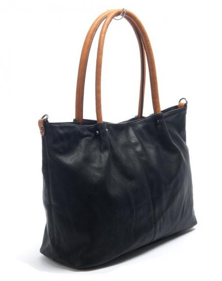 Sac femme Flora&Co: Grand sac à main Noir/Camel