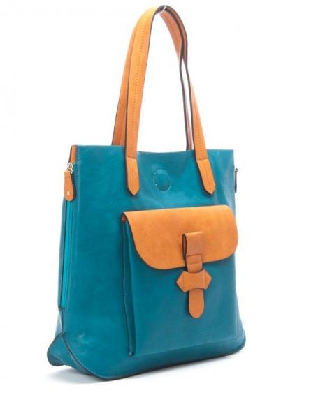 Sac femme Flora&Co: Sac à main style cartable bleu canard