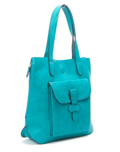 Sac femme Flora&Co: Sac à main style cartable bleu turquoise