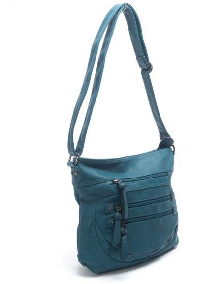 Sac femme Nanucci: sac à main bleu canard