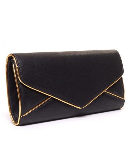 Sac femme Style Shoes: Grande pochette noire et doré
